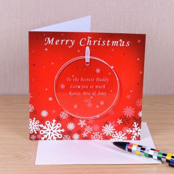 Personalised CHRISTMAS ROUND DECORATION with CHRISTMAS CARD