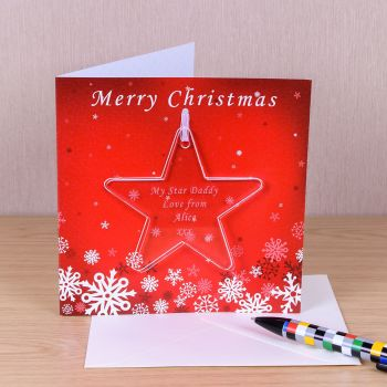 Personalised CHRISTMAS STAR DECORATION with CHRISTMAS CARD