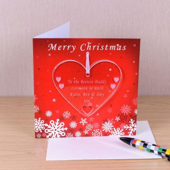 Personalised CHRISTMAS HEART DECORATION with CHRISTMAS CARD