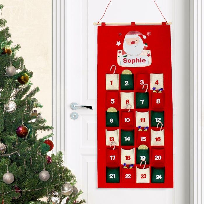 Personalised Tartan Santa Felt Advent Calendar Personalised Advent
