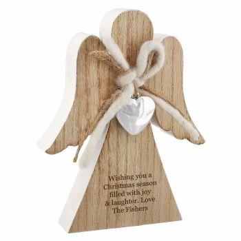 Personalised HEART Rustic Wooden ANGEL