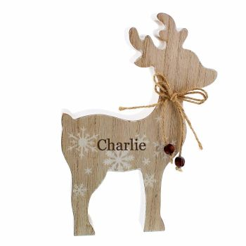 Personalised RUSTIC Wooden REINDEER Shabby Chic Christmas Decoration