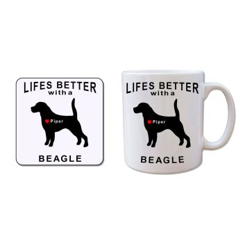 Personalised BEAGLE Mug and Coaster Gift Set