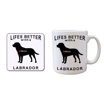 Personalised LABRADOR Mug and Coaster Gift Set
