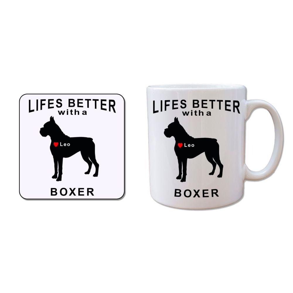 Personalised BOXER Mug and Coaster Gift Set