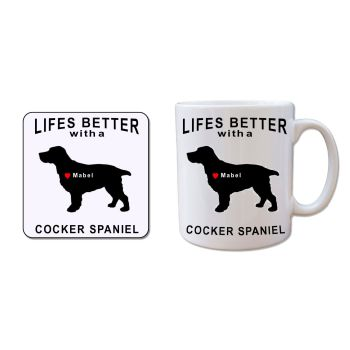 Personalised COCKER SPANIEL Mug and Coaster Gift Set