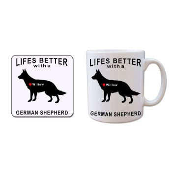 Personalised GERMAN SHEPHERD Mug and Coaster Gift Set