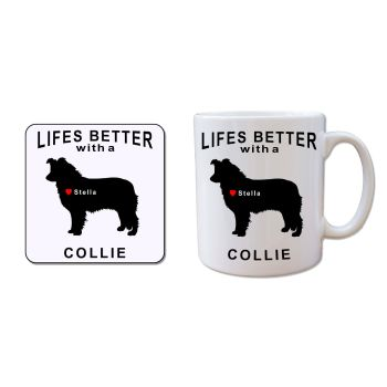 Personalised COLLIE Mug and Coaster Gift Set