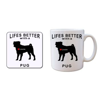 Personalised PUG Mug and Coaster Gift Set