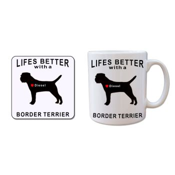 Personalised BORDER TERRIER Mug and Coaster Gift Set