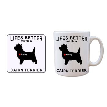 Personalised CAIRN TERRIER Mug and Coaster Gift Set