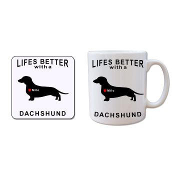 Personalised DACHSHUND Mug and Coaster Gift Set