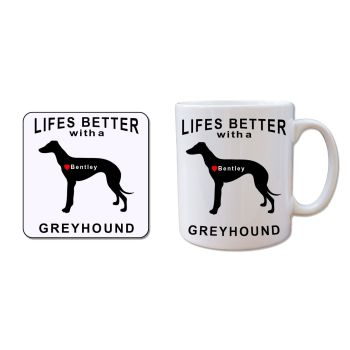 Personalised GREYHOUND Mug and Coaster Gift Set