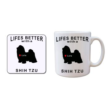 Personalised SHIH TZU Mug and Coaster Gift Set