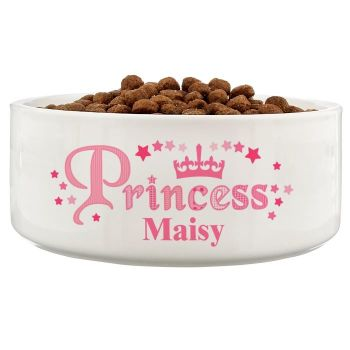 Personalised Large Size PRINCESS Dog Bowl, Puppy Bowl, Pet Water or Food Bowl