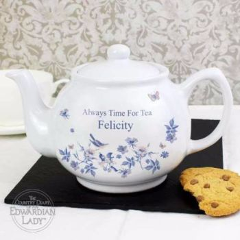 Personalised BLUE BLOSSOM Teapot - The Edwardian Lady Collection