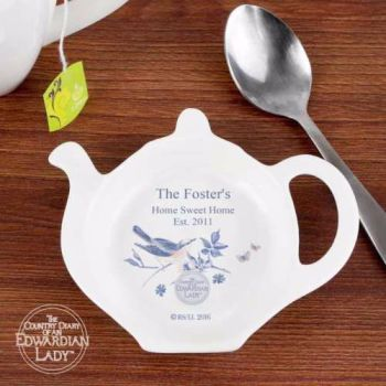 Personalised TEA BAG REST - Blue Blossoms The Edwardian Lady Collection