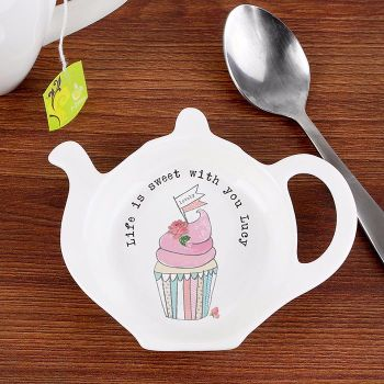 Personalised TEA BAG REST - Vintage Cupcake