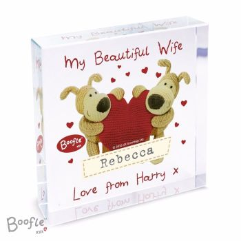 Personalised Crystal Token - Large - Boofle Love Heart