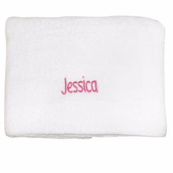Personalised White Bath Towel - Pink lettering
