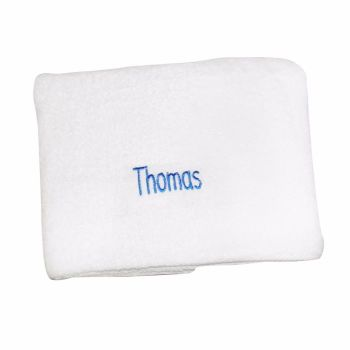 Personalised White Bath Towel - Blue lettering