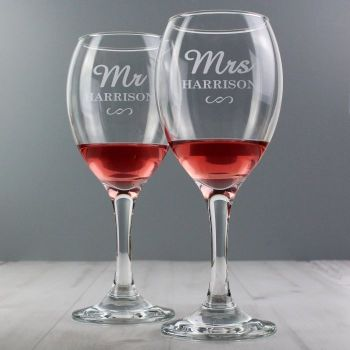 Personalised MR & MRS Wine Glasses