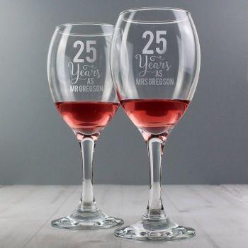Personalised YEARS Wine Glasses