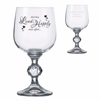 Personalised LIVED HAPPILY Wine Glass