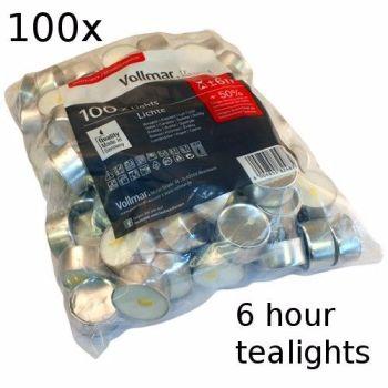 100x 6 Hour Burn Tealights