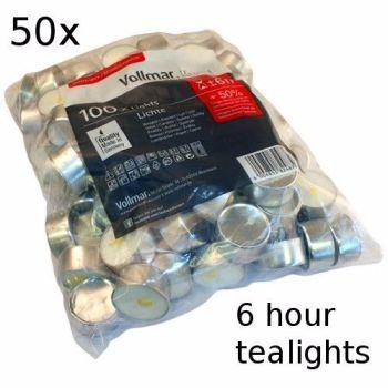 50x 6 Hour Burn Tealights