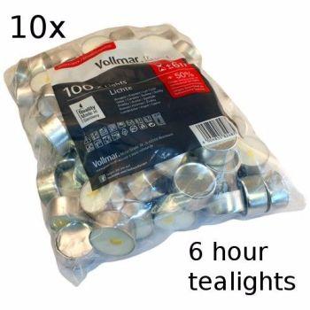 10x 6 Hour Burn Tealights