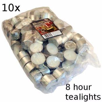 10x 8 Hour Burn Tealights