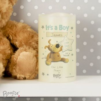 Personalised BOOFLE IT'S A BOY LED Nightlight Candle