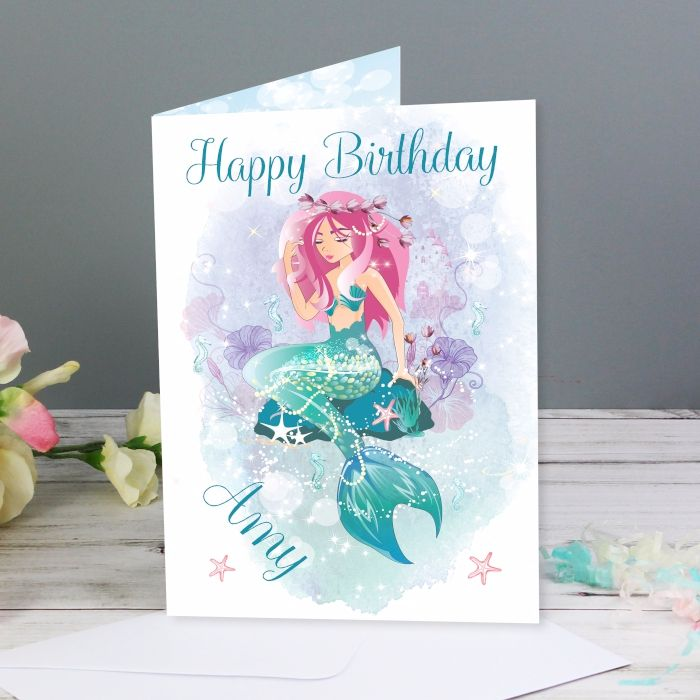 Personalised Mermaid Card Birthday Cards Childrens Sister Daughter Childs