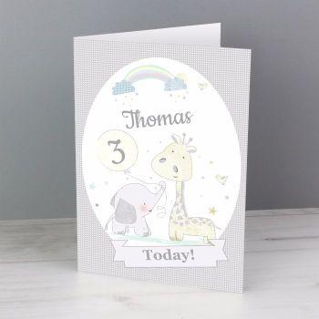 Personalised ELEPHANT & GIRAFFE Birthday Card