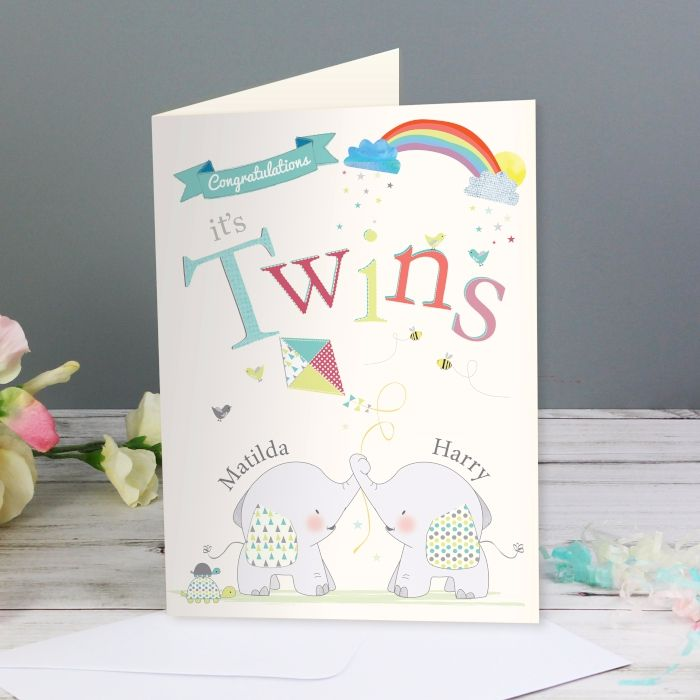 Personalised TWINS Birth CARD