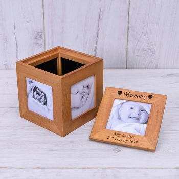 Personalised Oak Photo Cube Keepsake Box - HEARTS