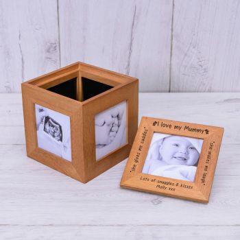 Personalised Oak Photo Cube Keepsake Box -I/WE LOVE MUMMY