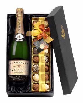 Personalised Authentic Star Champagne with Chocolates Giftpack