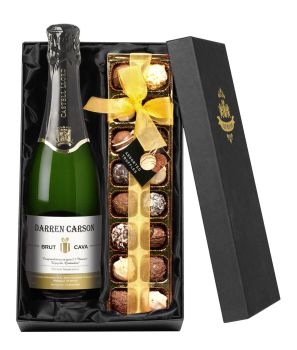 Personalised Contemporary Cava with Chocolates Giftpack