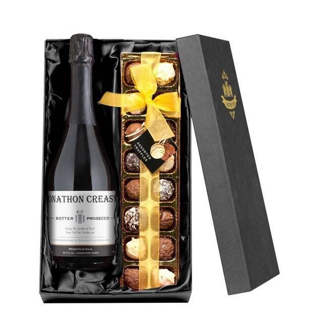 Personalised Contemporary Prosecco with Chocolates Giftpack