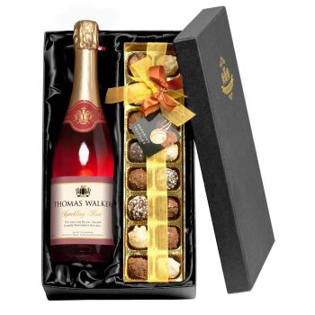 Personalised Any Occasion Sparkling Rosé Wine with Chocolates Giftpack