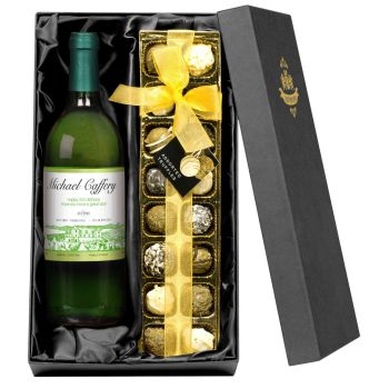 Personalised White Wine & Chocolates