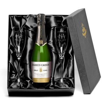 Personalised Cava with set of HAPPY ANNIVERSARY Glass Flutes