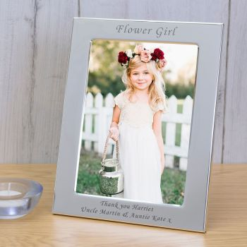 Personalised 6x4 FLOWER GIRL Silver Plated Frame
