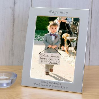 Personalised 6x4 PAGE BOY Silver Plated Frame