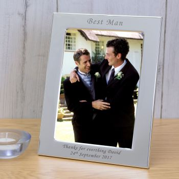 Personalised 6x4 BEST MAN Silver Plated Frame