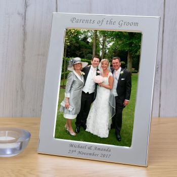 Personalised 6x4 PARENTS OF THE GROOM Silver Plated Frame