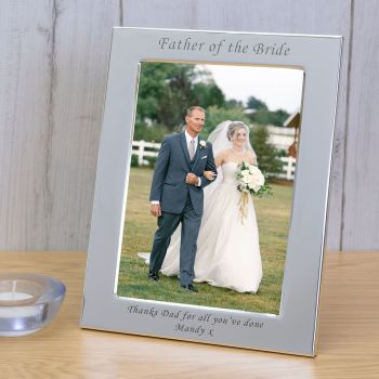 Personalised 6x4 FATHER OF THE BRIDE Silver Plated Frame