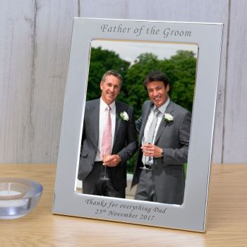 Personalised 6x4 FATHER OF THE GROOM Silver Plated Frame